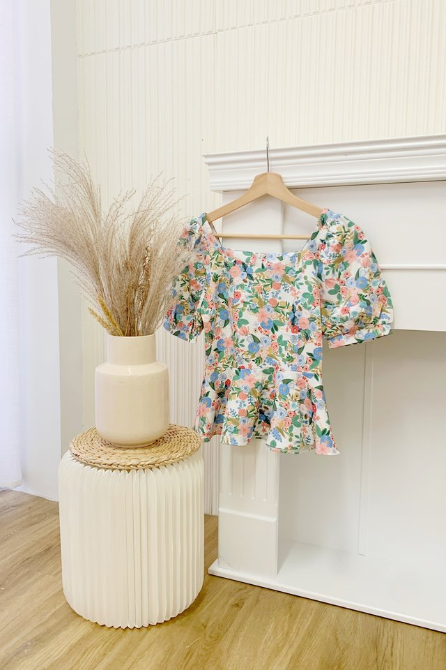 Sher Floral Peplum Top in White