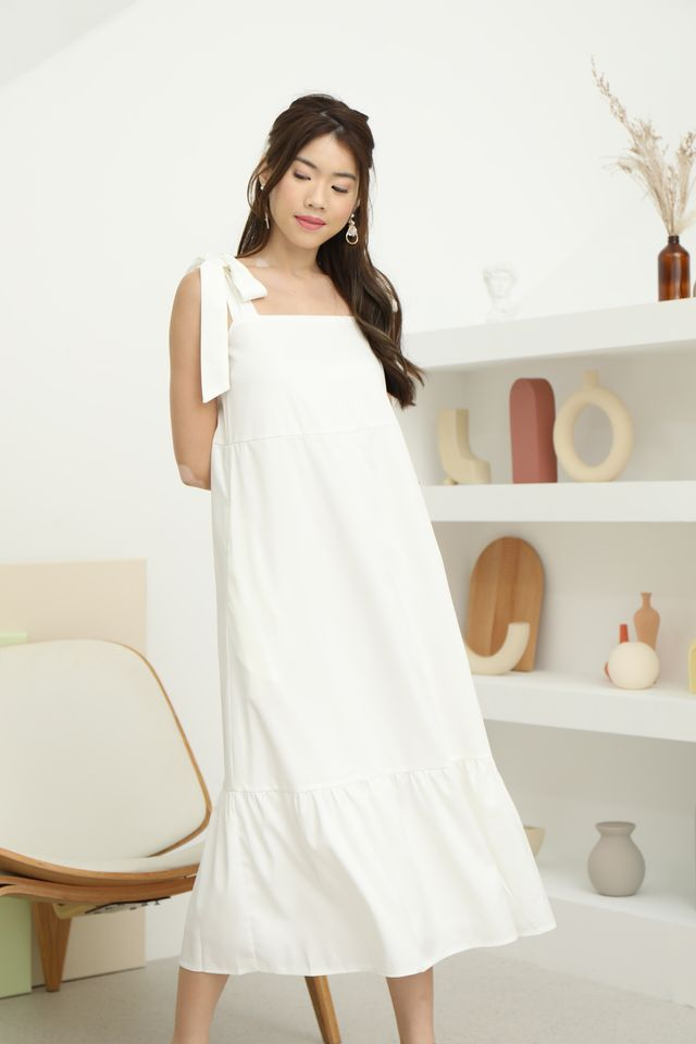 Tie Shoulder Maxi in White