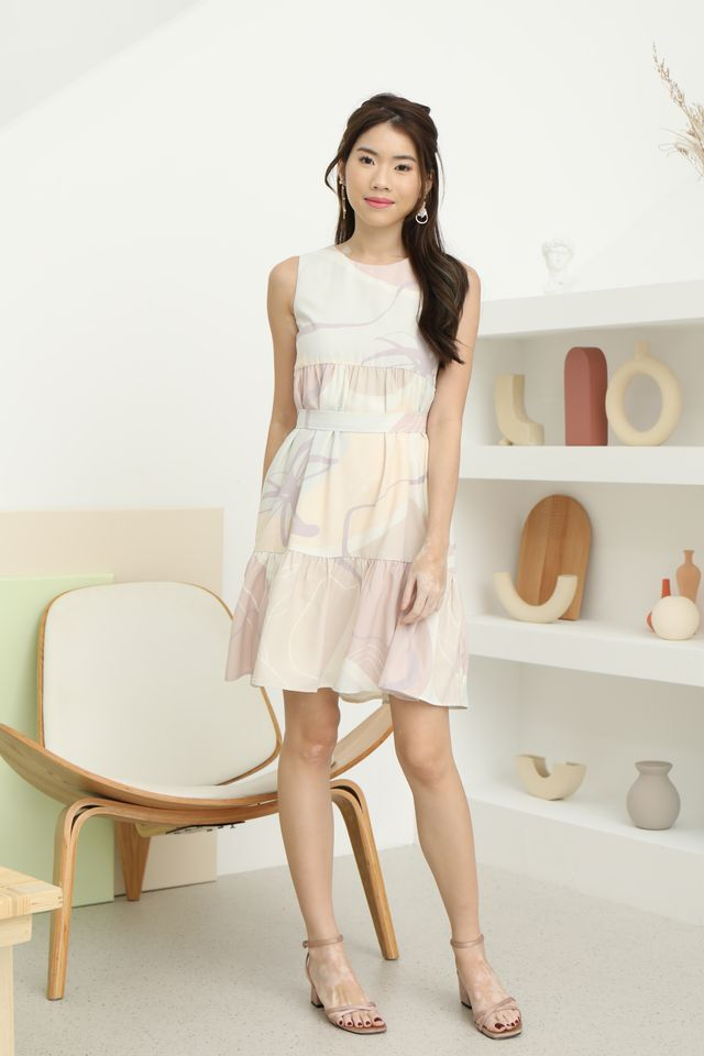 Abstract Babydoll Dress in Beige