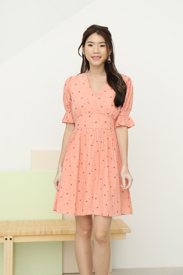 Puffy Sleeves Flowers Dress in Peach