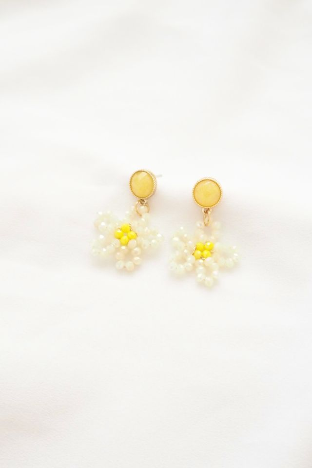 Beaded Flower Earstuds in White