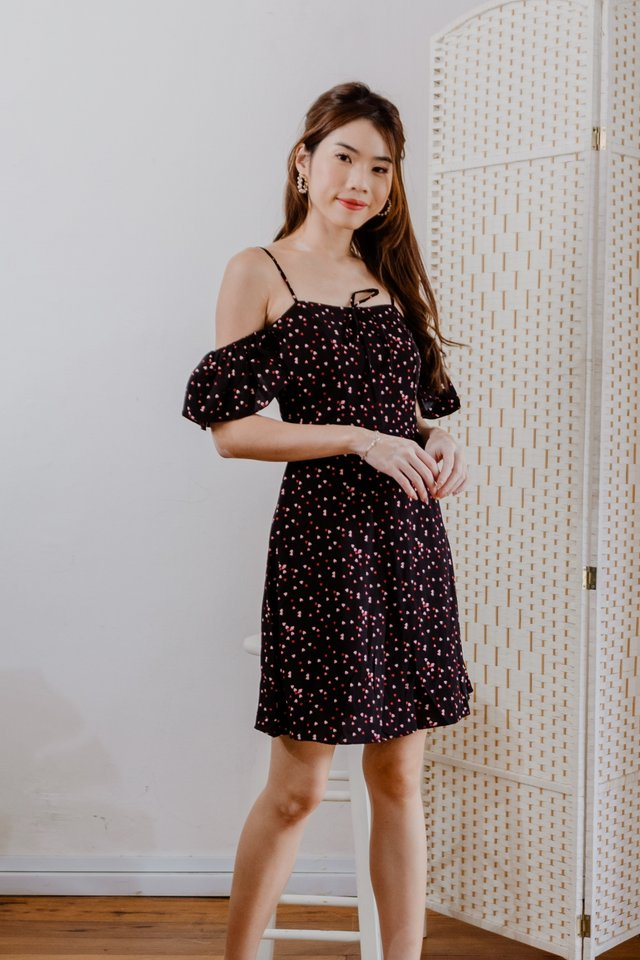 Cute Hearts Drop Shoulder Dress in Black