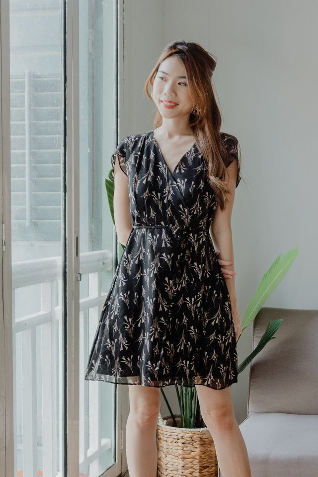 Ciel Floral Dress in Black