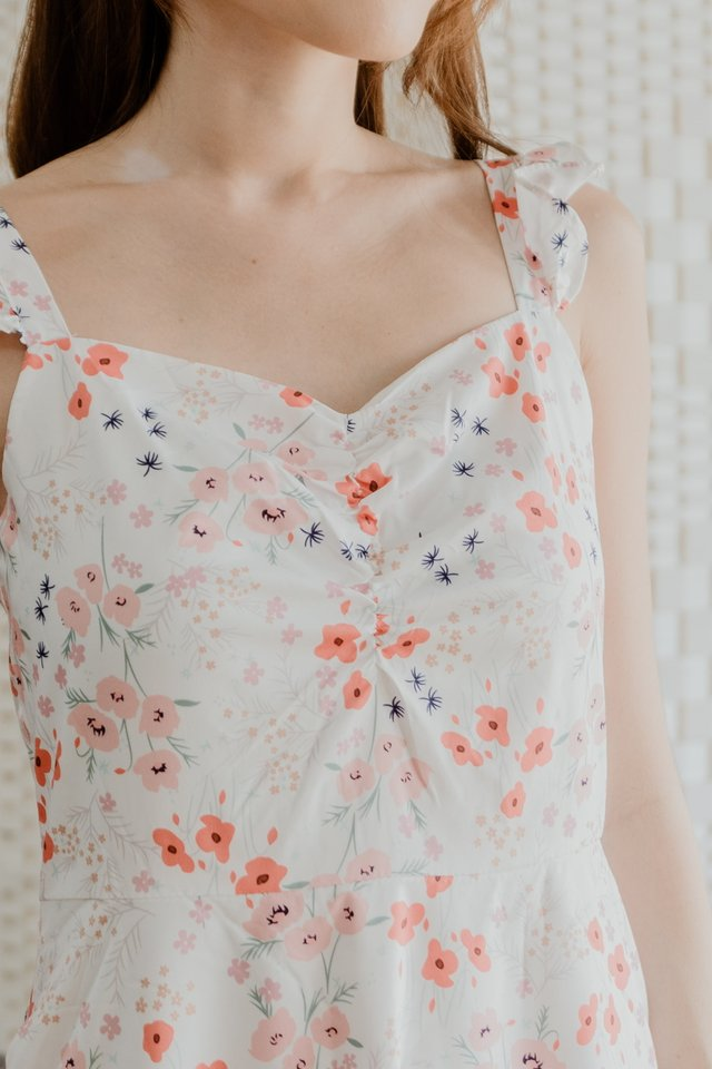 Ruffle Straps Floral Dress in White