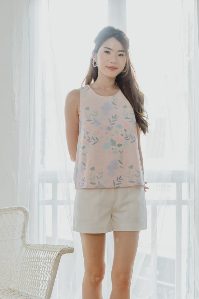 Reversible Floral/Dots Top in Pink
