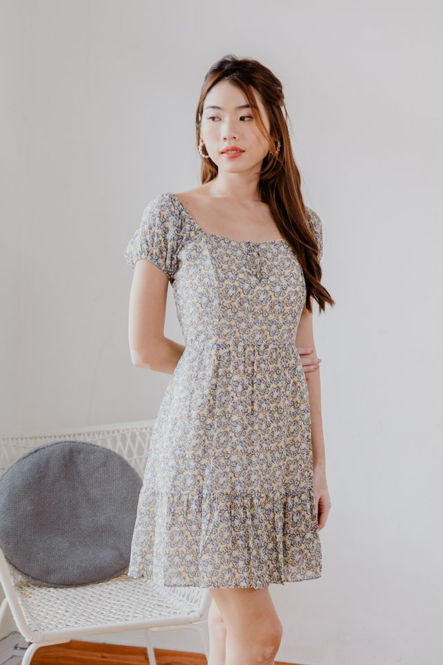 Ina Two Way Floral Dress in Blue