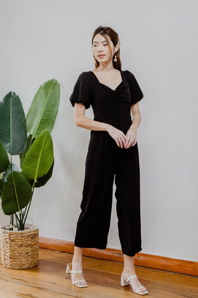 Puffy Sleeves Jumpsuit in Black