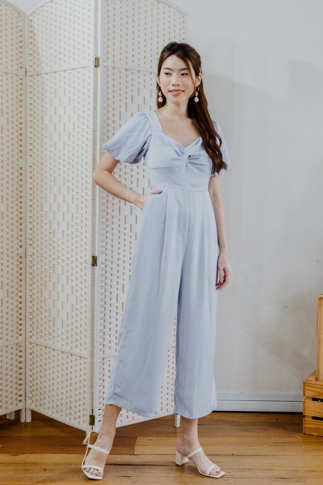 Puffy Sleeves Jumpsuit in Sky