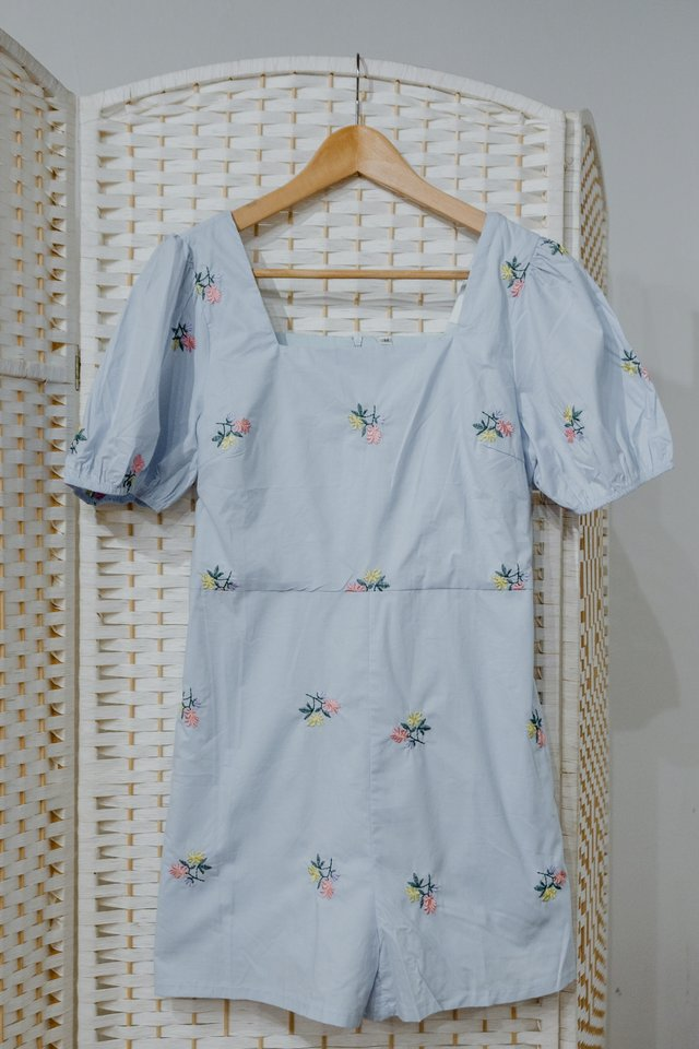 Embroidery Romper in Blue