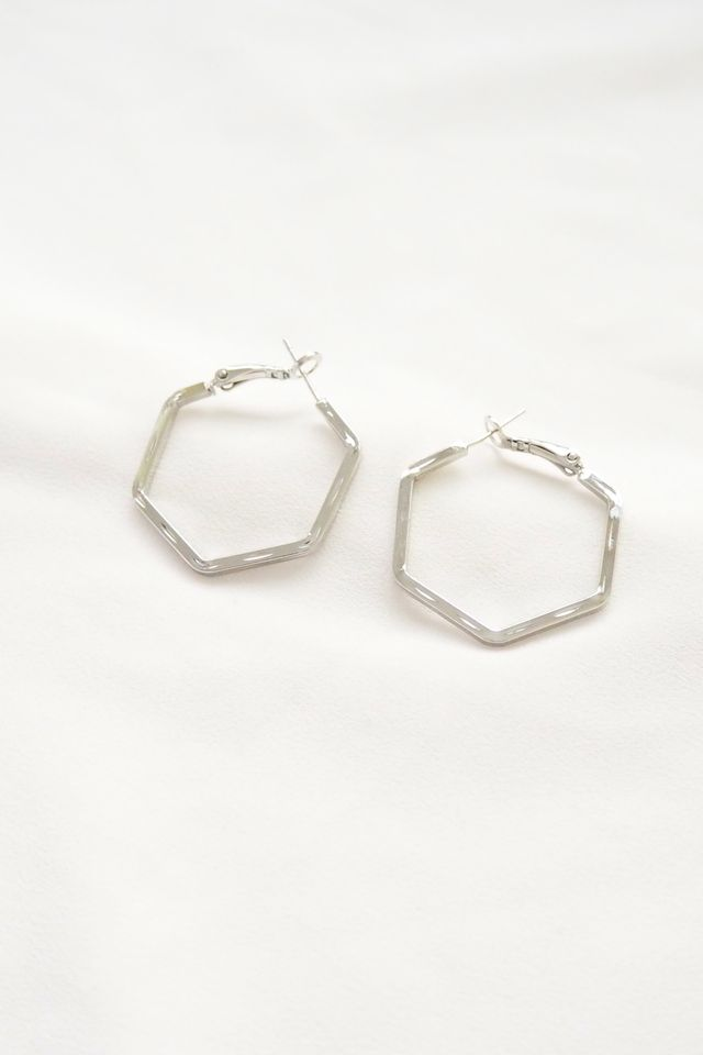 Hexagon Hoops in Silver