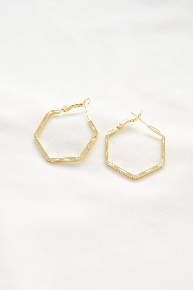 Hexagon Hoops in Gold